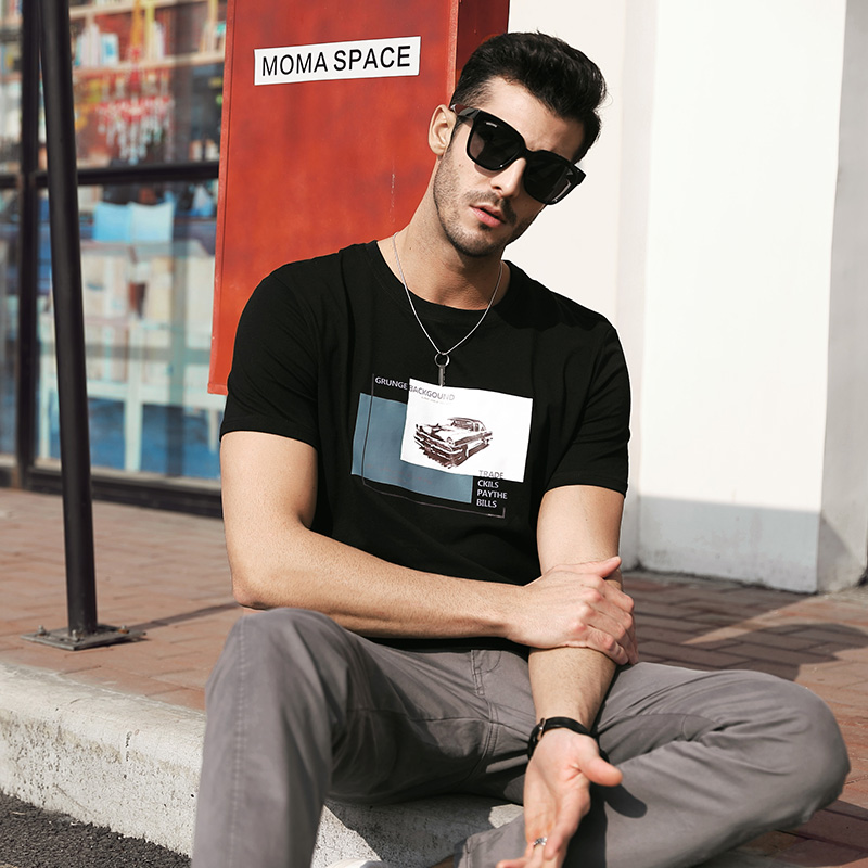 新款纯棉t恤男士短袖韩版潮流圆领上衣白夏季打底衫男装体恤夏天