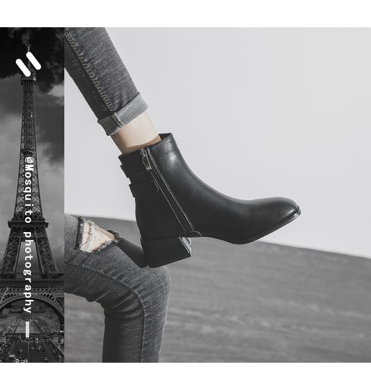 墨染·馬丁靴粗跟靴子夏季2121新款短靴女春秋單靴網紅瘦瘦靴中筒靴薄款