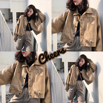 Hot return! Cheers cheers / khaki brown short and medium large pocket silver button jacket retro leather women