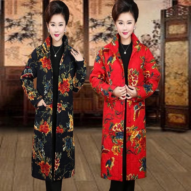 新款妈妈棉衣中老年民族花色风棉袄女中长款唐装装修身女装棉袄冬