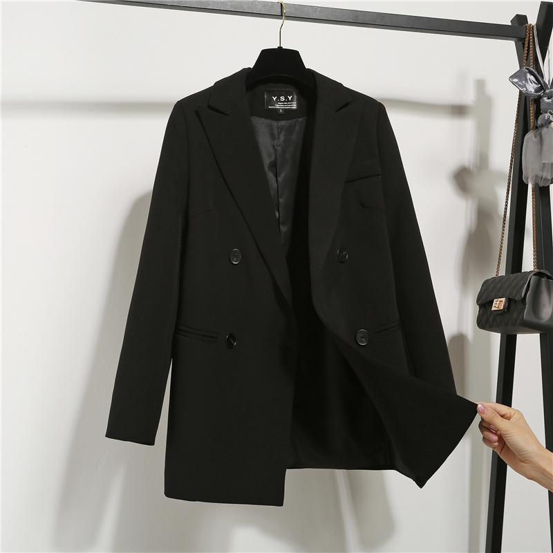 2019新款chic小西装女装时装英伦风韩版宽松v女装职业西服外套黑色