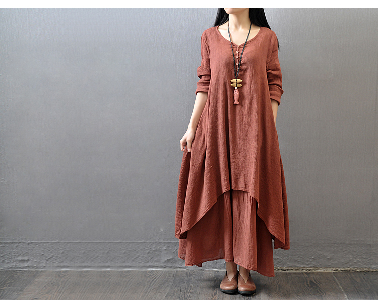 fff23b54093 2019 Women Casual Spring Dress Loose Full Sleeve V Neck Button Plus Size  Dress Cotton Linen Boho Long Maxi Dress Vestidos Teenage Party Dresses  Inexpensive ...