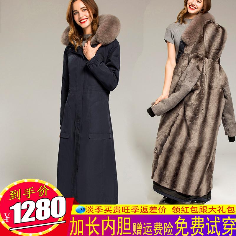 2018新款尼克服女长款可拆卸大毛领大衣派克服内胆毛狐狸派克獭兔