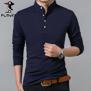 啄木鸟男装立领纯色长袖T恤