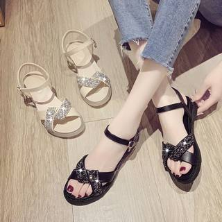 16 real soft shoes female 2021 summer new INS leather sandals water drill wild pine cake soft bottom women's shoes