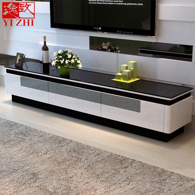 逸致簡約現代烤漆電視機柜 鋼化玻璃地柜 小戶型電視柜茶幾組合