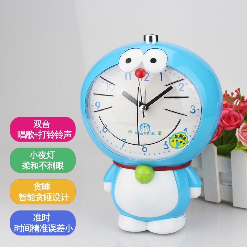 Children dedicated cute cartoon talking call lazy get up noisy table creative student bedside music alarm clock