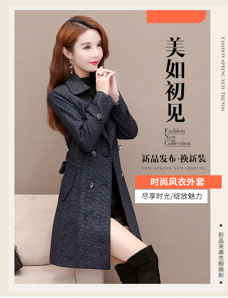 Women's windshield 2020 new spring and autumn fashion Korean version show thin tie with double-row button small jacket jacket 44 Online shopping Bangladesh