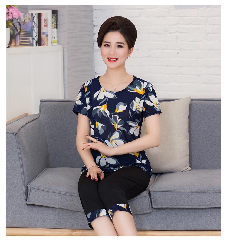 Mùa hè trung niên mẹ của phụ nữ phù hợp với 2 piece phù hợp với ngắn tay T-Shirt 7 quần trung niên casual loose phù hợp với phụ nữ
