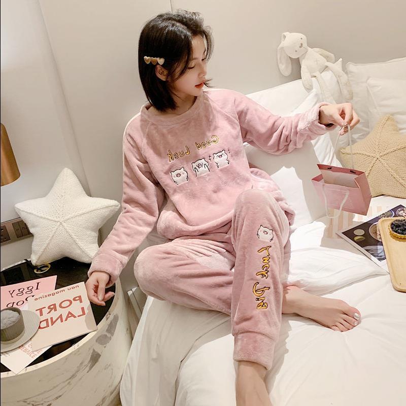 秋冬季睡衣女加厚绒保暖珊瑚绒学生可爱冬天甜美法兰绒套装家居服