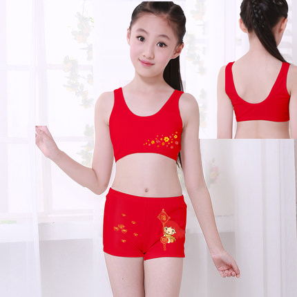 28cb9404db19d ... Children s SpongeBob underwear set development period small vest bra  girl tube top underwear big red 10