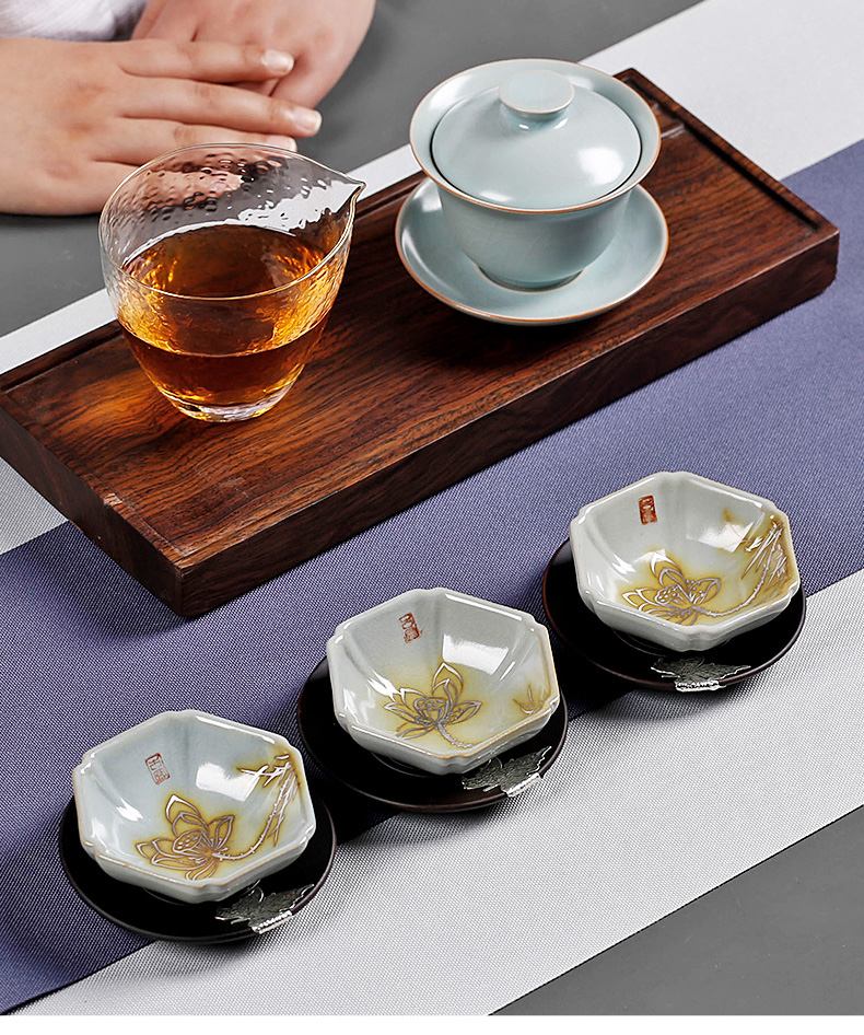 Small teacup cracked can raise your up kung fu tea masters cup silver pure manual hand - made ceramic cup large move