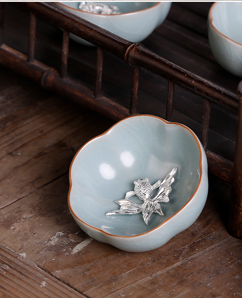 Ice crack glaze porcelain teacup single small azure restoring ancient ways is pure manual open thy up - market metrix 'cup silver personal single CPU