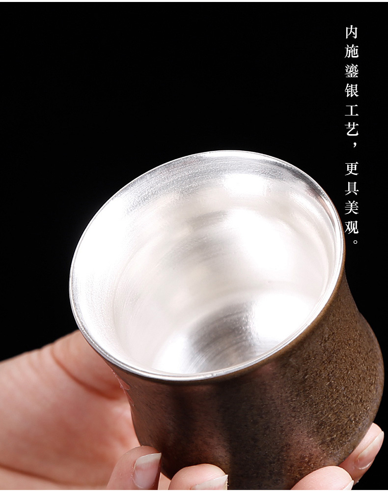 Tasted silver gilding tea cup, master cup sample tea cup large ceramic single CPU kungfu meditation variable hand - made teacup restoring ancient ways
