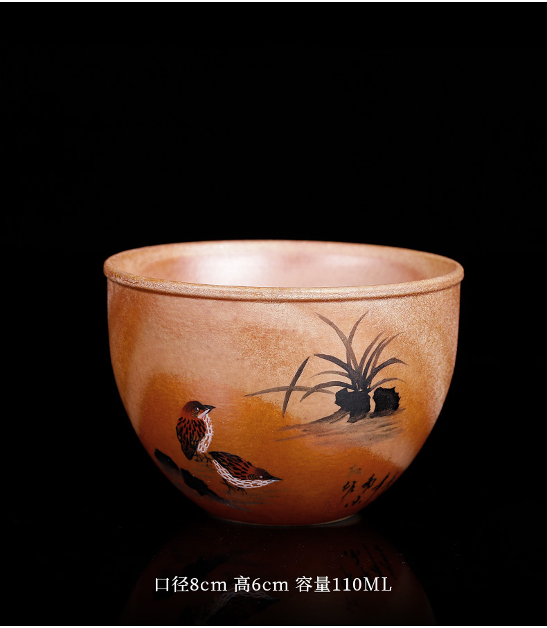 Jingdezhen firewood hand - made master cup pure manual sample tea cup single cup large natural dust move variable tea cups