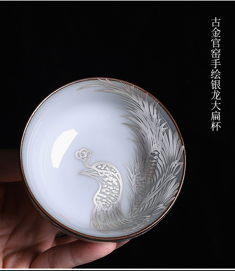 Up manually on the kongfu master cup female ceramic cup character hand - made coppering. As silver single sample tea cup gift boxes