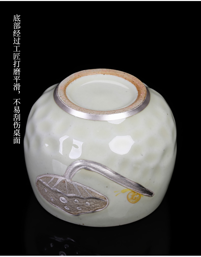 Jingdezhen up kung fu tea gift box sets checking ceramic tasted silver gilding masters cup large household sample tea cup
