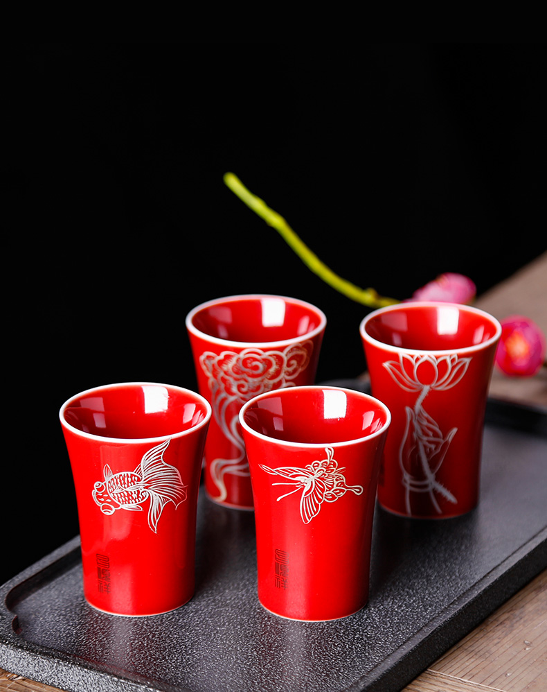 The Master cup single CPU girl hand sample tea cup with red glaze ceramic kung fu tea set all hand personal small tea cups