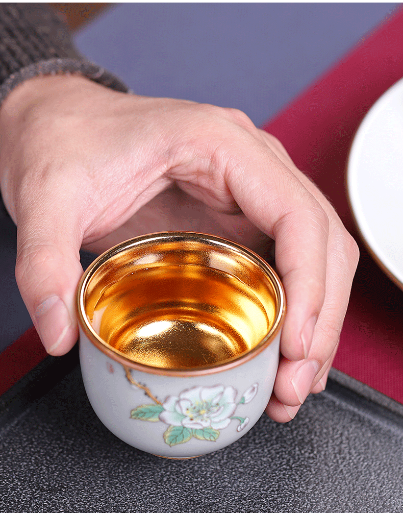 Your up tea gold small, checking out ceramic kung fu tea cup single CPU creative masters cup golden cup only home
