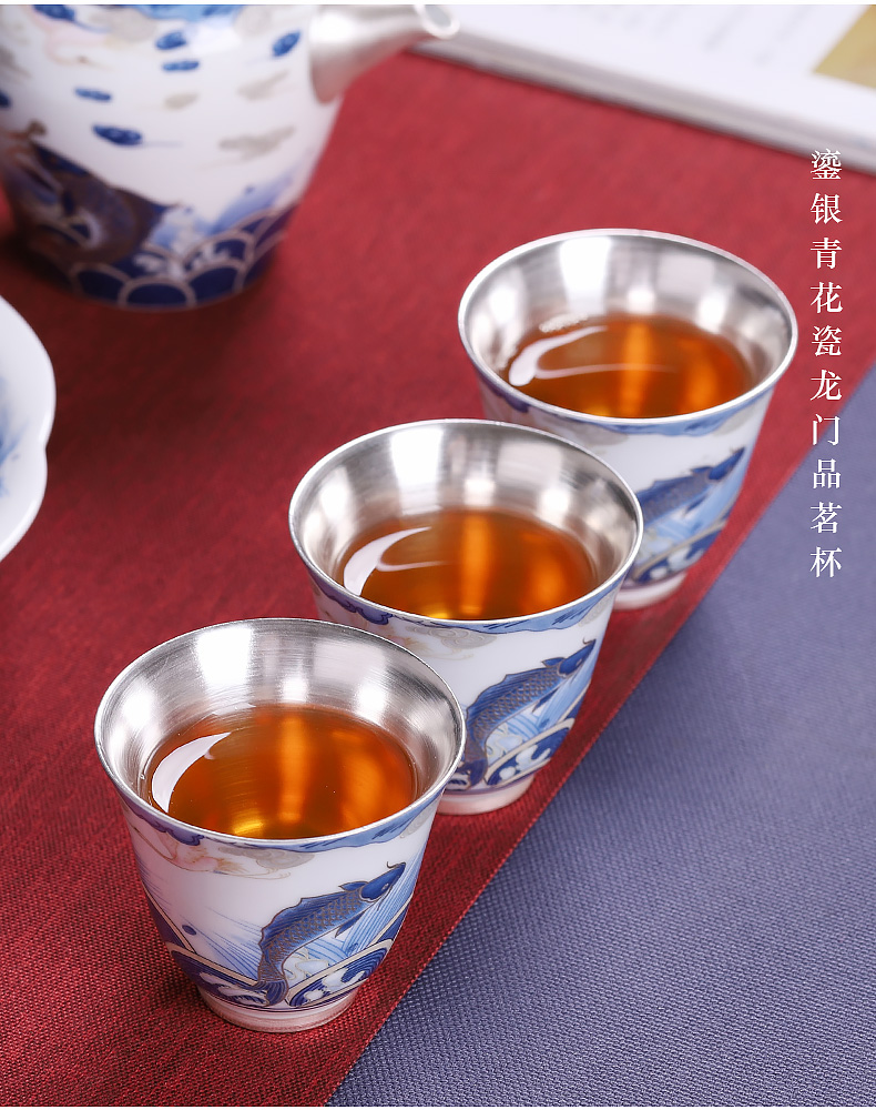 Tasted silver gilding master of blue and white porcelain cup home checking ceramic tea cup kung fu tea tea light small bowl