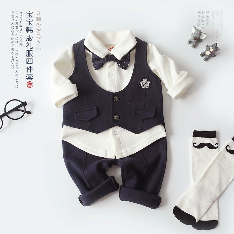 Baby Boy Full Moon 1 Year Old 2 Years Spring And Autumn Models 100 Days Cotton Suit Flower Girl Birthday Dress Four