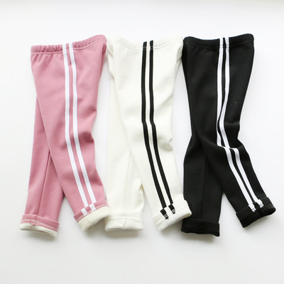 New 2017 children's wear children plus velvet sports pants girls parallel bars slacks winter baby out of leggings thick