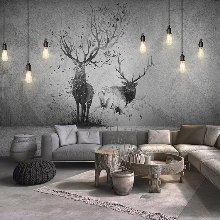 European vintage art cement wallpaper paper hand-painted moose Nordic minimalist living room bedroom TV background wall paper.