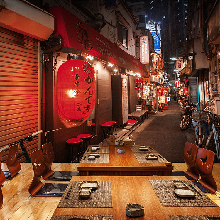 3d Japanese street view wallpaper Japanese cuisine sushi restaurant and wind decoration wallpaper street murals around the world