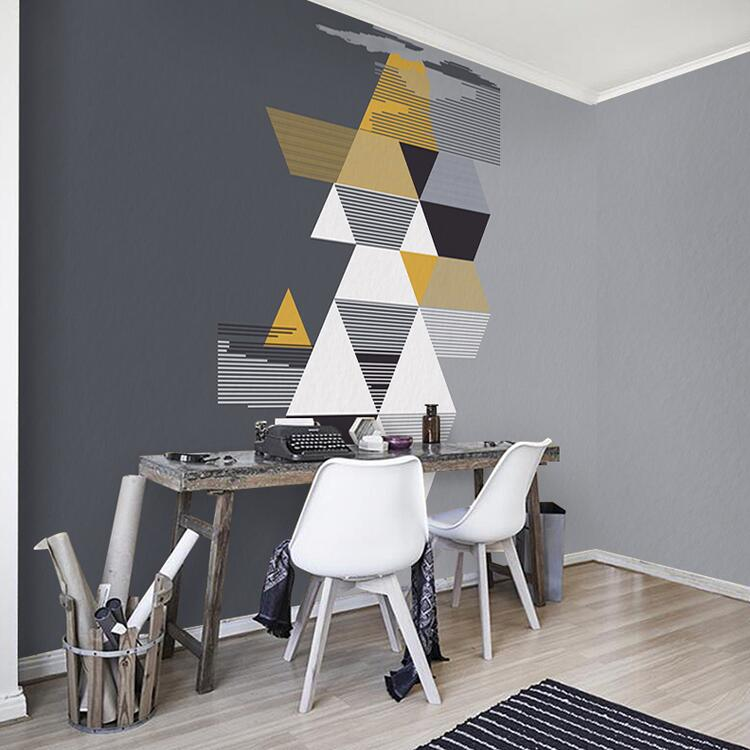 Simple abstract irregular geometric graphics gray background wall wallpaper personality living room bedroom creative seamless wallpaper