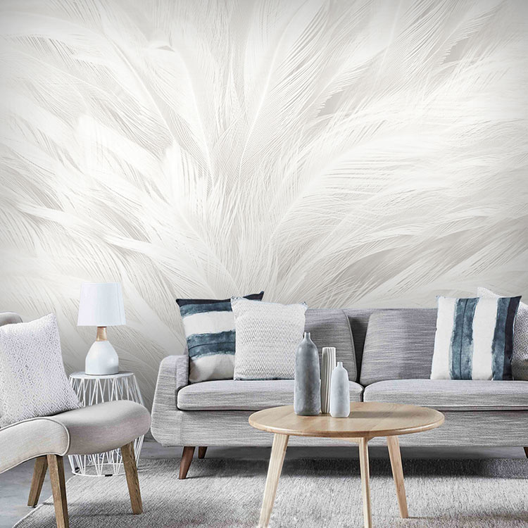Simple Nordic white colored feather wallpaper modern living room bedroom art TV background wall nonwoven wallpaper