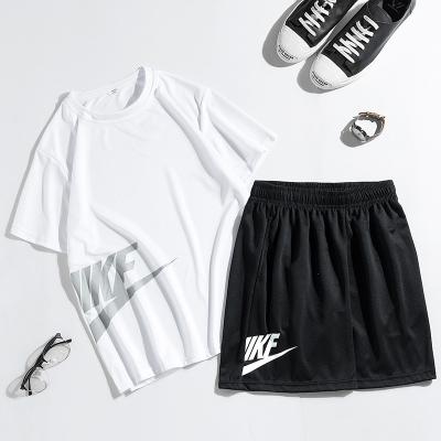 运动套装男夏季宽松舒适短袖T恤跑步休闲运动服短裤男两件套男