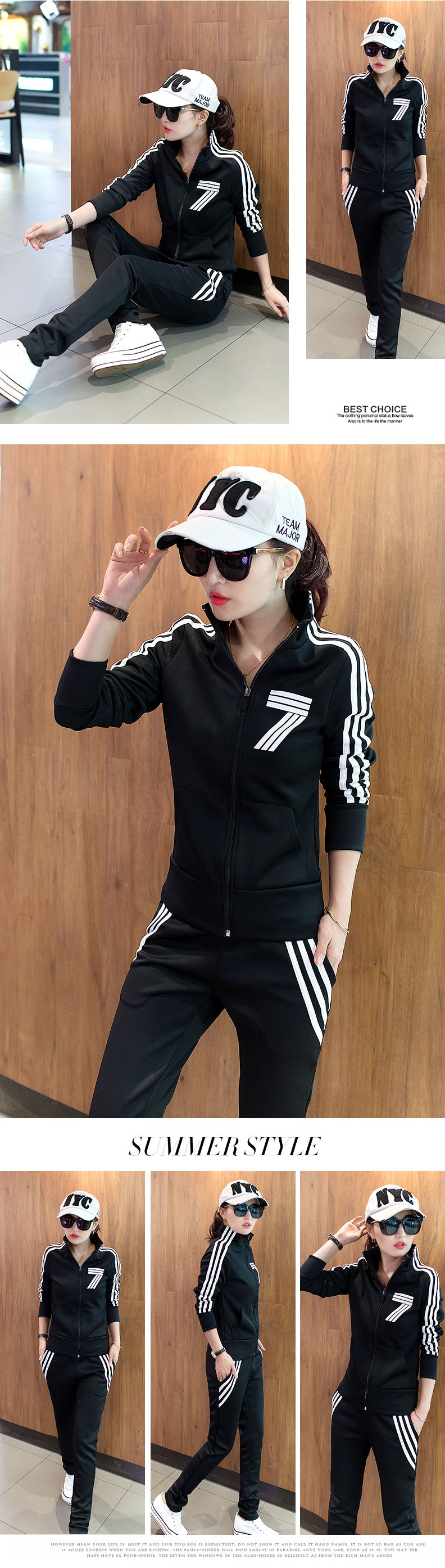 Spring and autumn Korean version of the slim collar zipper casual sportswear suit ladies long-sleeved two-piece suit 20 Online shopping Bangladesh