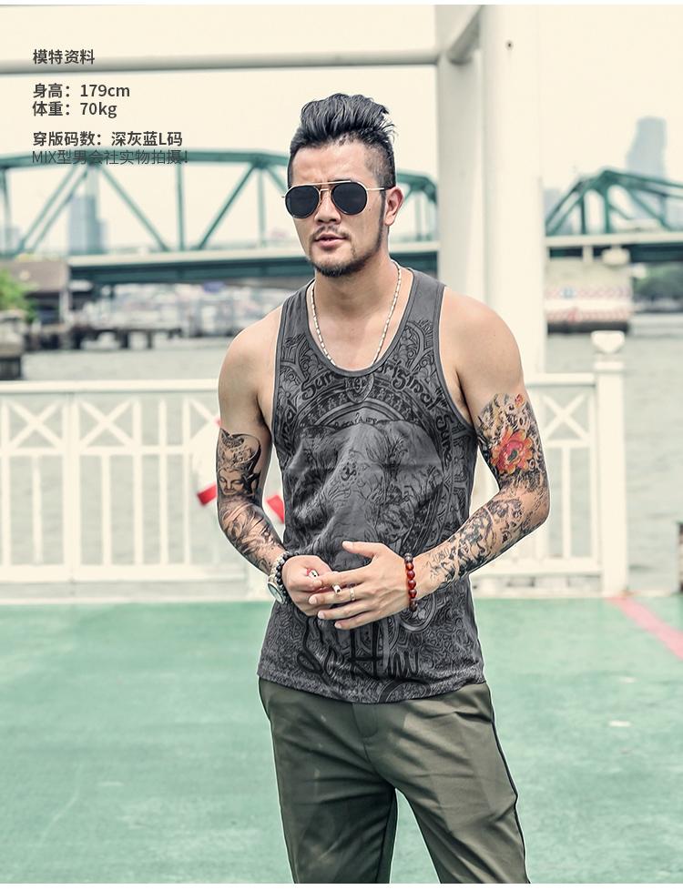 Grey Men Tank Top Casual Fitness Singlets Brand Mens Sleeveless Gasp Hip Hop Vest Elephant Print Cotton undershirt T680 16