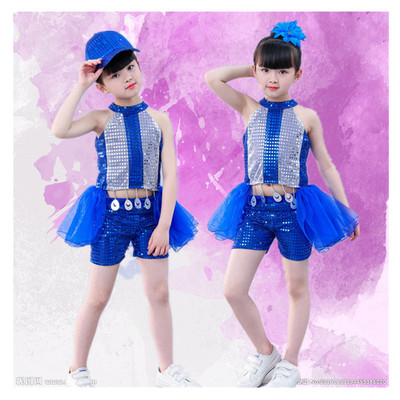 Girls Jazz Dance Costumes jazz dance sequins, cheerleading costumes, children  and pupils costumes blue