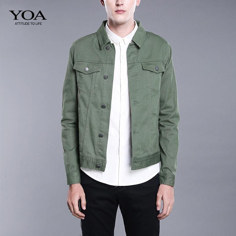 YOA牛仔夹克男 秋季韩版修身黑色牛仔衣男士青年学生休闲外套男潮