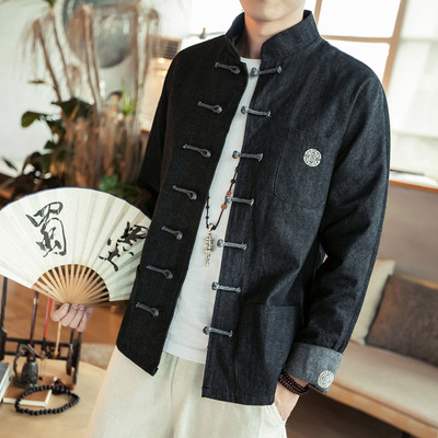 Antique jeans jacket men's clothes stand collar and button-down Tang clothes jacket for young and middle-aged people to add fat and increase jacket