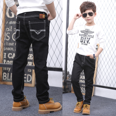 Children's clothing boy jeans autumn and winter models in the children's trousers feet pants plus cashmere thick 5689-10-12 tide