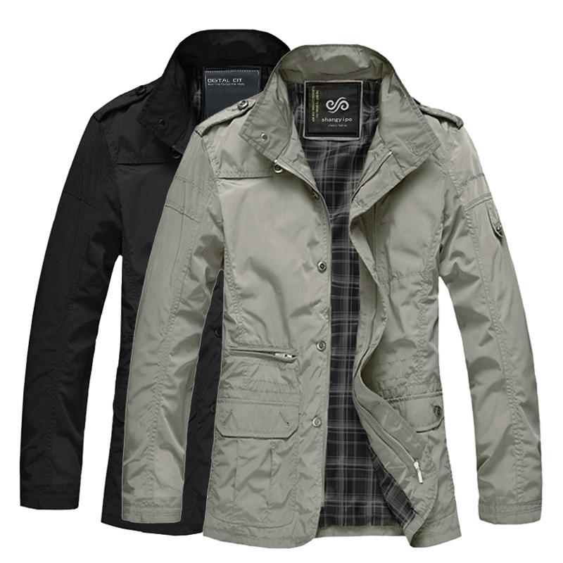 秋季中年薄款夹克胖子加肥加大码男装男士中长款宽松v夹克棉衣外套