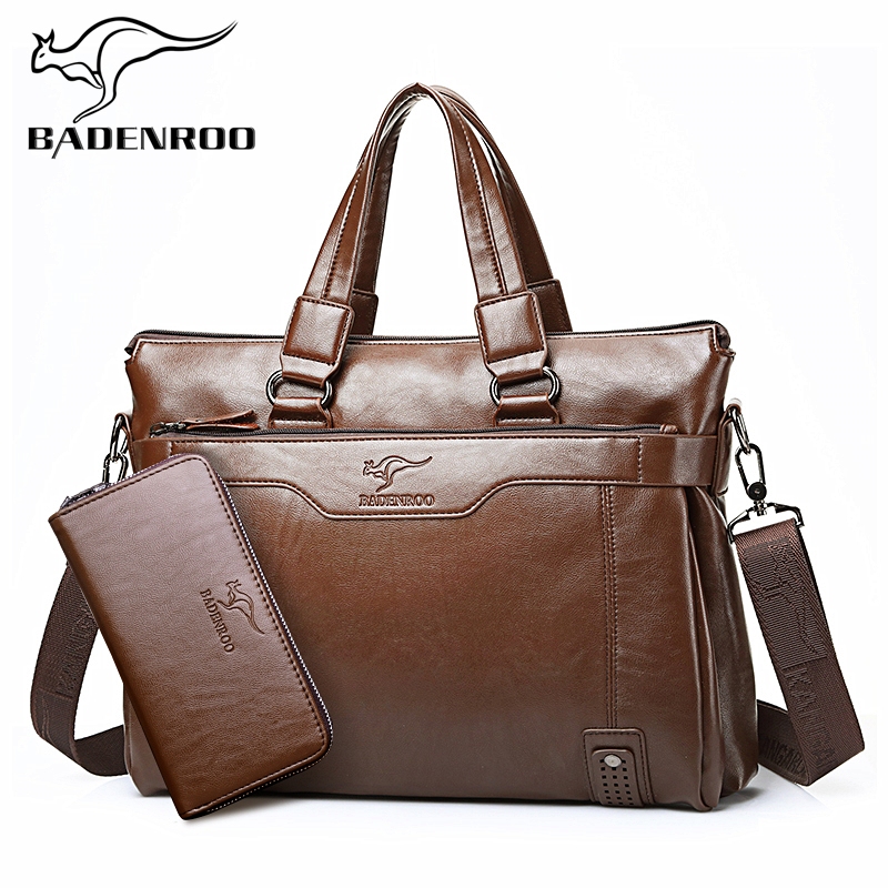 Kangaroo male bag cross bag business leather men's shoulder bag for men the Briefcase bags leisure bags