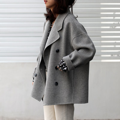 2020 autumn and winter Korean version of the gray small child short double-sided cashmere coat whole wool Xiao Nizi hair 外 女