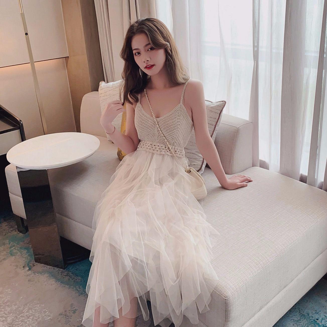 吊带裙子女2020新款流行仙女裙小众甜美网纱连衣裙超仙层层蛋糕男