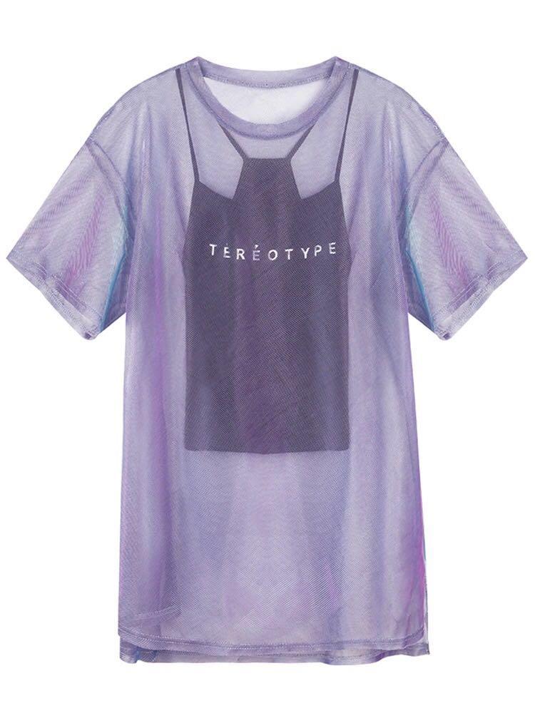 1002紫色透视亮丝网纱短袖T恤女新款怪味少女体恤中长款+吊带上衣