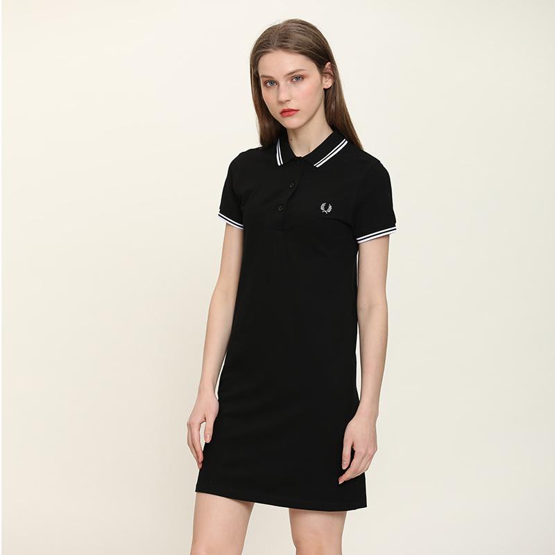夏季Polo裙女短袖翻领纯棉修身中长款很仙小个子连衣裙t恤裙情侣