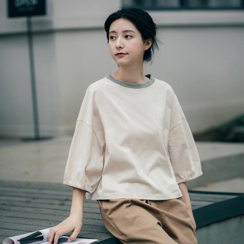七分袖t恤女宽松港风bf短袖学生五分袖韩版半袖中袖上衣短款夏季