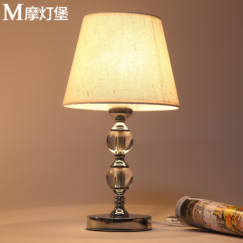 European remote control bedroom warm wedding reading creative learning modern minimalist dimming LED 牀 head crystal 檯 lamp