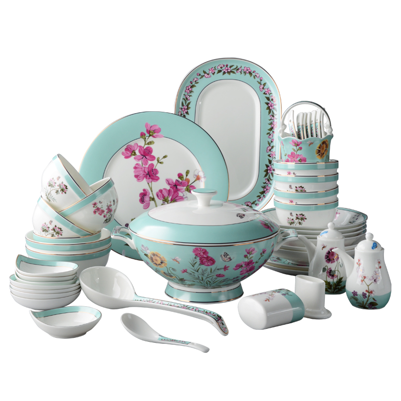 High-end American bone china dishes cutlery set Chinese dishes home ...