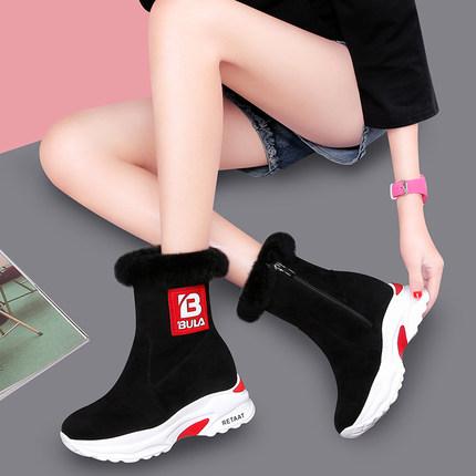 雪地靴女短筒短靴2018冬季新款韩版百搭棉鞋学生加绒加厚女靴子潮
