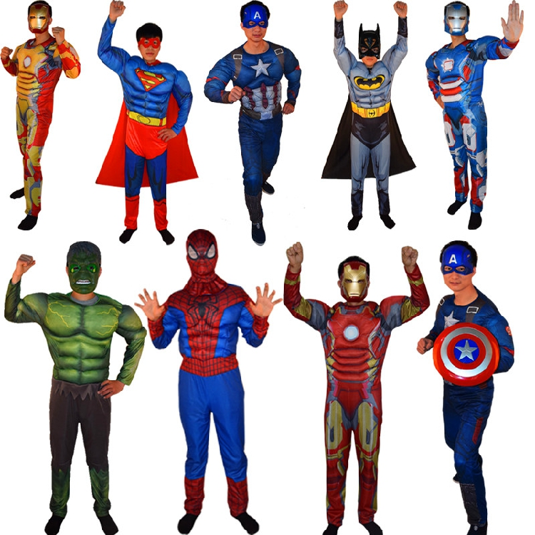 halloween captain america costume iron man superman spider man adult clothes avengers league muscle model