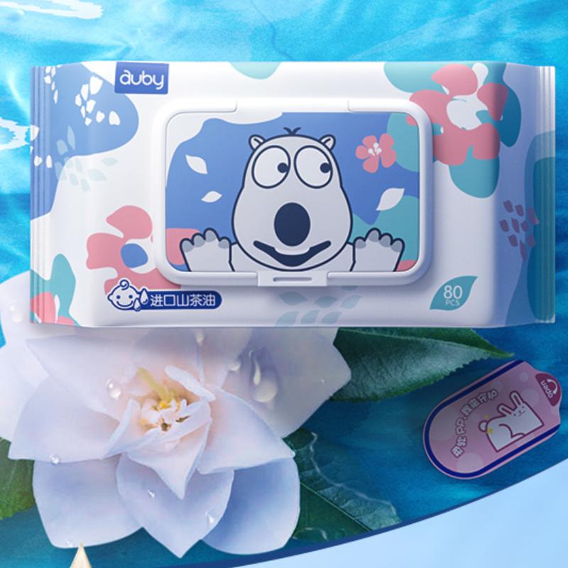 澳贝婴儿湿巾手口专用湿纸巾80抽*5包