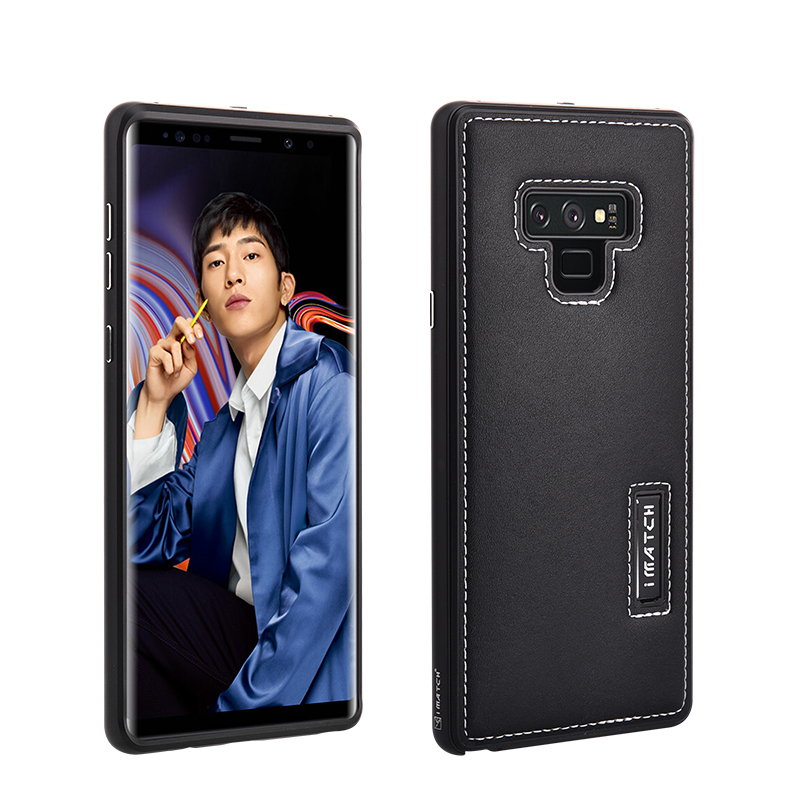 iMatch Luxury Aluminum Metal Bumper Premium Genuine Leather Back Cover Case for Samsung Galaxy Note 9